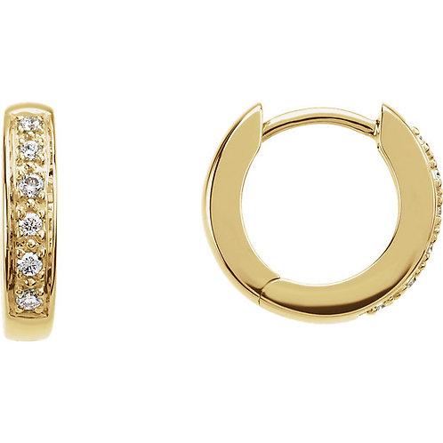 14kt Gold Diamond Hoop Earrings