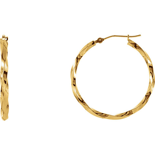 14kt Yellow Gold Twisted Hoop Earring