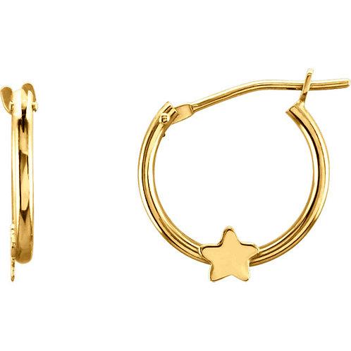 Youth Gold Star Hoop Earrings