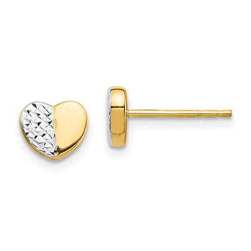 14kt Yellow Gold Diamond Cut Heart Earrings
