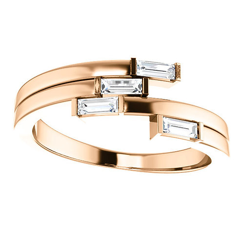 14kt Gold and Diamond Baguette Geometric Ring
