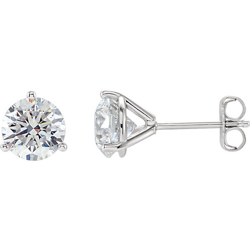 Round Brilliant Diamond Studs set in 14kt White Gold
