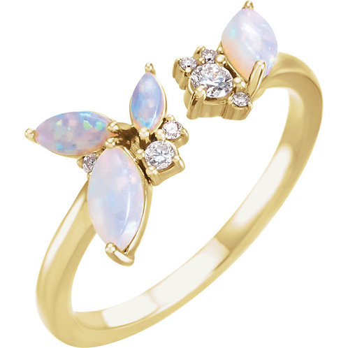 Opal and Diamond Negative Space Ring