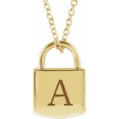 Engravable Gold Lock Necklace