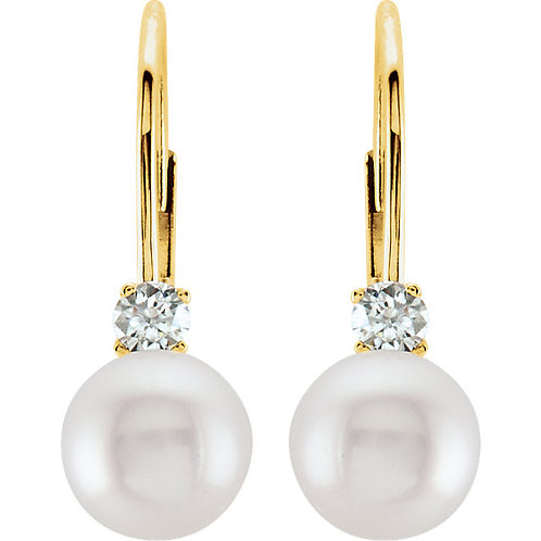 Akoya Cultured Pearl and Diamond Earrings in 14kt Yellow Gold