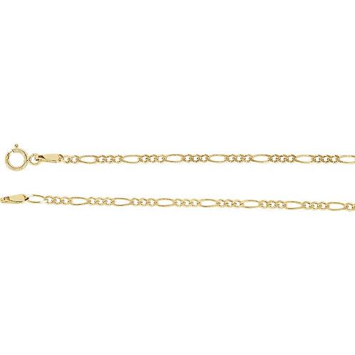 "14kt Yellow Gold 2mm Figaro Chain 16"""