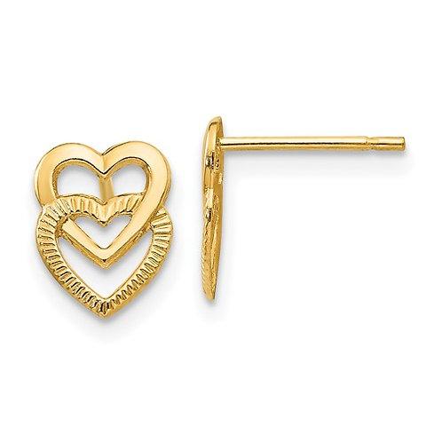 14kt Yellow Gold Double Heart Earrings