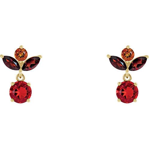 Genuine Citrine, Opal, Garnet Earrings