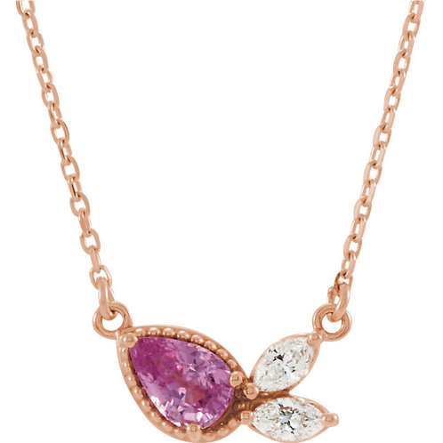 14kt Gold Pink Sapphire and Diamond Necklace