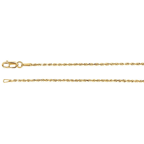14kt Solid Gold/1.3mmDiamond Cut Rope Chain/16 inch