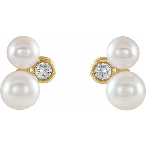 Akoya Cultured Pearl and Diamond  Gold Earrings
