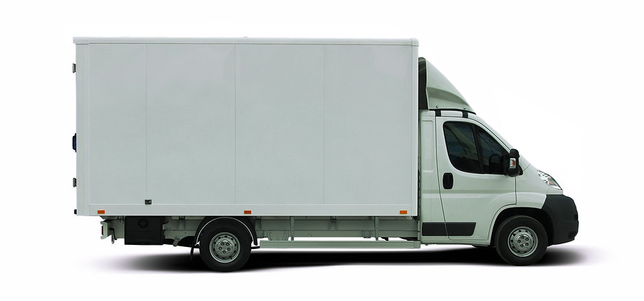 White delivery van isolated on white bac