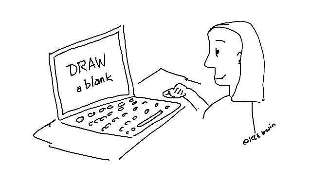 A woman using a mouse to draw based on a prompt on the screen