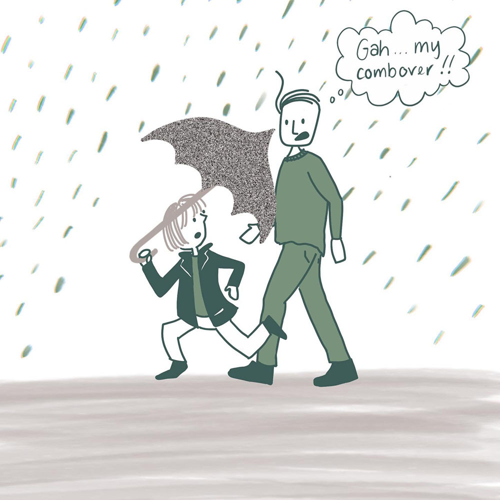 "A couple is walking in the rain. The much shorter woman is holding an umbrella and is about to poke the man in the eye. The man is thinking, ""Gah, my combover!!"""