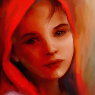Girl with red scarf