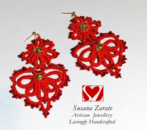 Red Frivolite Earrings £32