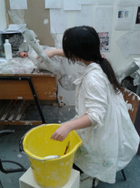 Working in her sculpture workshop at Newcastle University