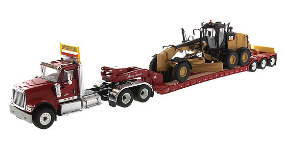 International HX520 Tandem Day Cab Tractor with XL 120 HDG Lowboy Trailer in Red