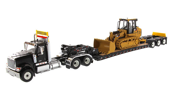 International HX520 Tandem Day Cab Tractor with XL 120 HDG Lowboy Trailer in Bla