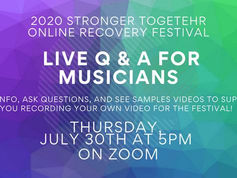 Live Q & A for Musicians - Thursday July 30th 5pm