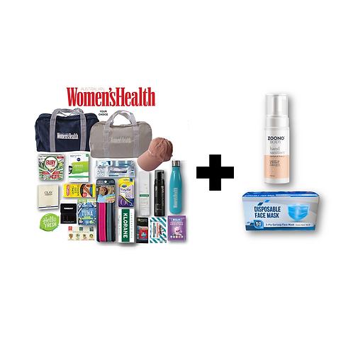 Women's Health Showbag + STAY SAFE (ZOONO & Mask) Bundle Pack
