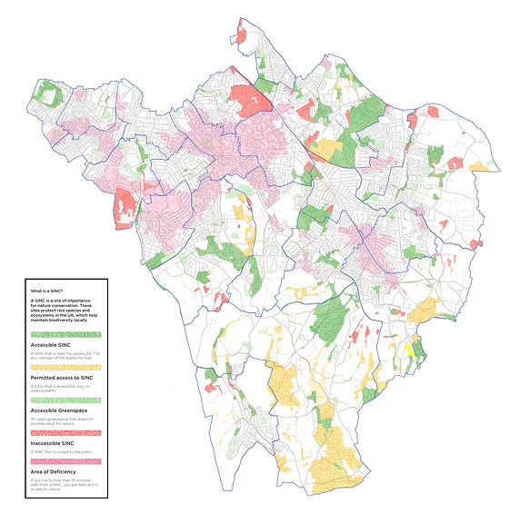 Map of Bromley with walking routes, sincs and areas of deficiency