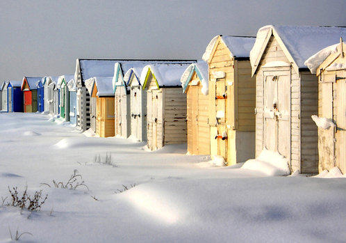 """Beach Huts In The Snow"" Photograph Print"