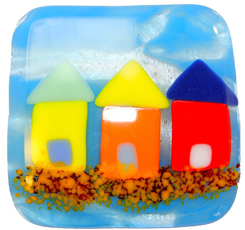 Fused Glass Coaster - Beach Huts - Blue