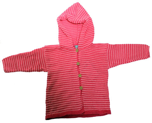 Pale striped pink hooded jacket/ jumper.