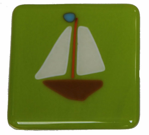 Fused Glass Coaster - Boats - Green