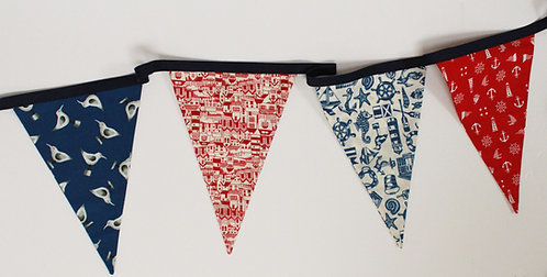 Vintage Cotton/Polyester Bunting. 4M Long.
