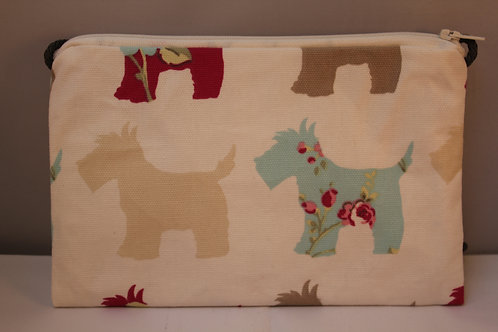 Zip Top Bag With Cord Strap - Turquoise and Pink Dog Print