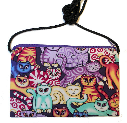 Zip Top Bag With Cord Strap - Purple Cats Print