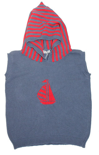 Blue/Red Hooded Tank Top With Yacht Motif