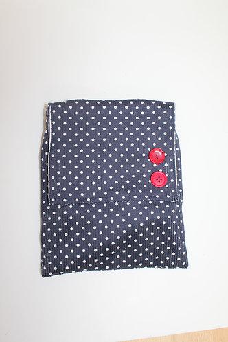 Across The Body Bag - Navy polka dot corduroy.