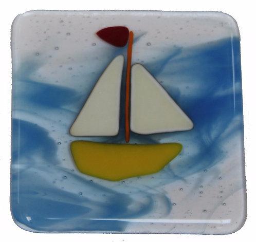 Fused Glass Coaster - Boats - Blue