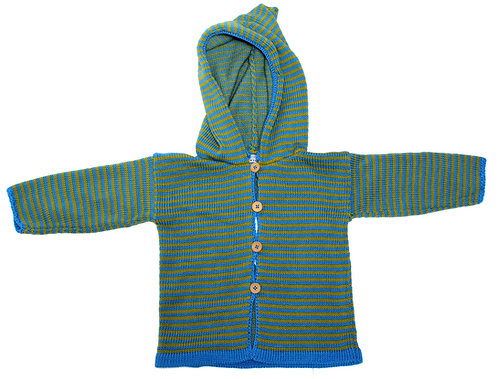 Turquoise/lime green striped hooded jacket/ jumper.
