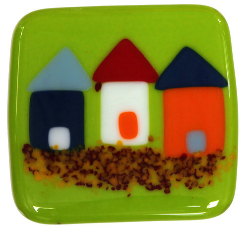 Fused Glass Coaster - Beach Huts - Green