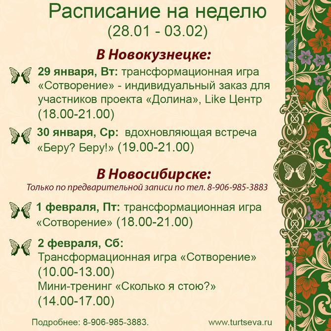 Расписание на неделю с 28.01 по 03.02