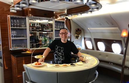On board Emirates Biz Class from Bangkok Feb 2017