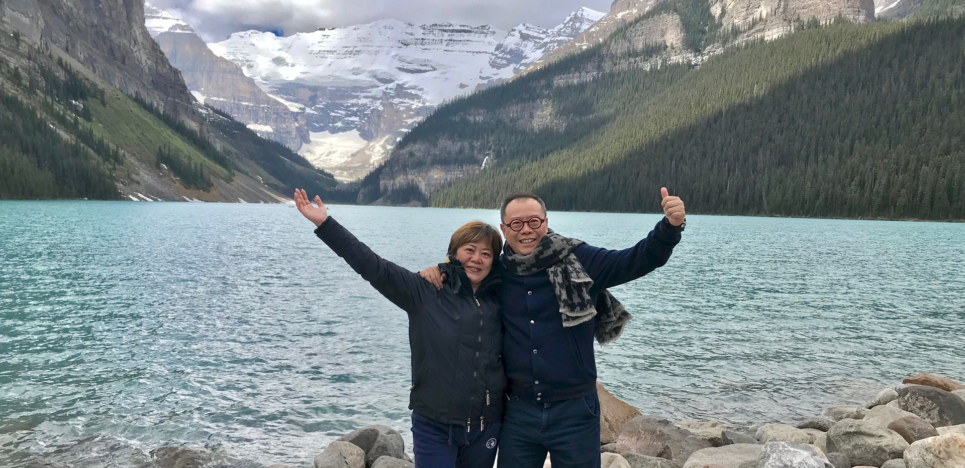 Great to see my sister Betty in Lake Louise, Canada Jun 2018