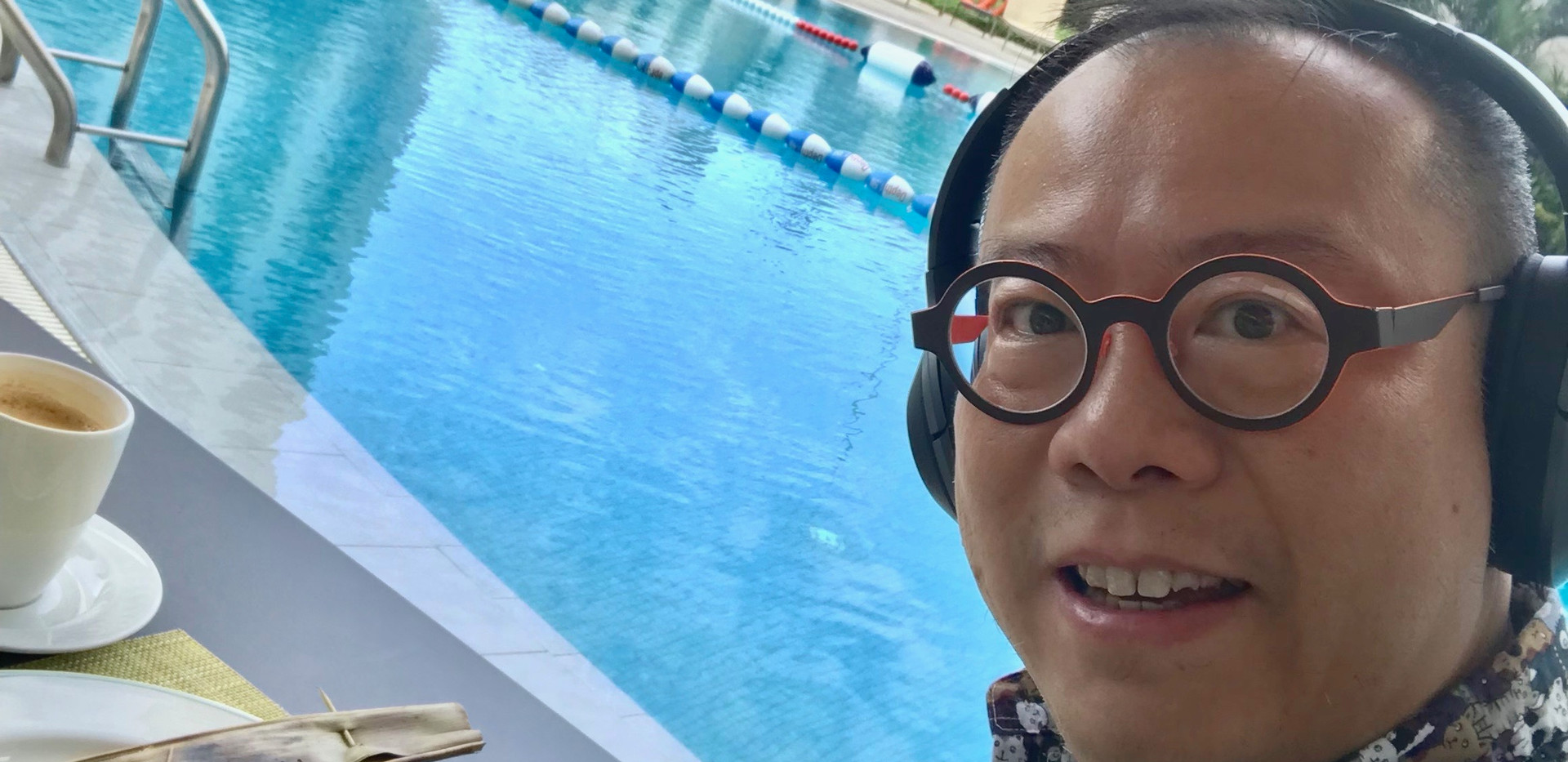 Breakfast by the pool in Singapore Aug 2018