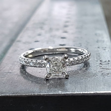 Cushion diamond engagement ring.