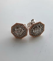 Two tone diamond halo earings