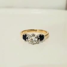 Diamond sapphire engagement ring.