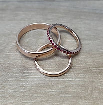 rose gold engagement ring set and rose gold ruby eternity band