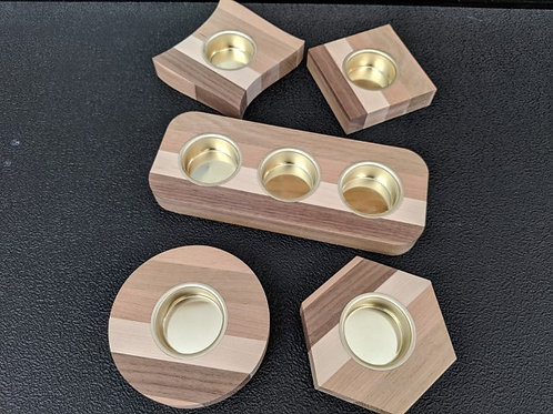 Solid wood tealight holders