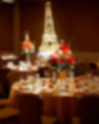 Gold French Wedding Reception Decor Tablescape Eiffel Tower Gobo wall light projection