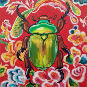 Green Christmas Beetle on Red