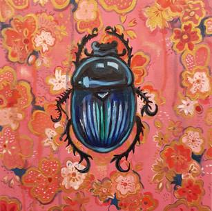 Blue Christmas Beetle on Pink